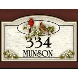 Personalized Cardinal Wood Address / Welcome Sign