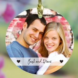 Personalized Ceramic Couples Photo Ornament