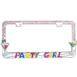 Party Girl with Martini Glasses License Plate Frame