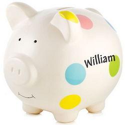 Personalized Polka Dot Piggy Bank