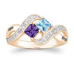 14K Gold over Sterling Couple's Princess-Cut Birthstone Ring