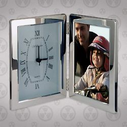 Silver Plated Clock with Picture Frame