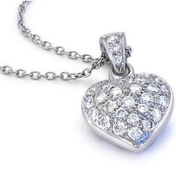 Pave Diamond Heart Pendant in 18K White Gold