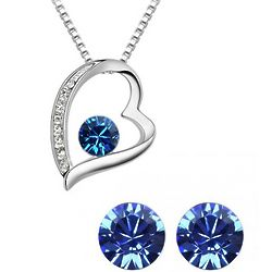 Blue Swarvoski Elements Heart Crystal Jewely Set