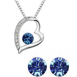 Blue Swarvoski Elements Heart Crystal Jewely Set