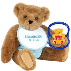 Baby Boy Teddy Bear with Rattle