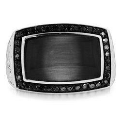 Cat's Eye & Black Diamond Men's Ring in Sterling Silver