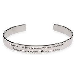 Men's Stainless Steel Serenity Prayer Cuff Bracelet