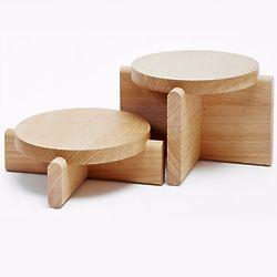 2 Wood Plant Pedestals