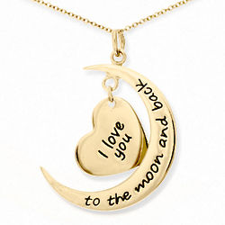 To the Moon and Back Gold Plated Heart and Moon Necklace