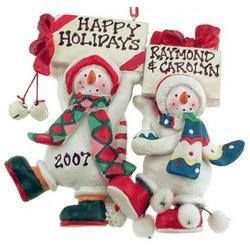 Engraved Snow Couple Christmas Ornament