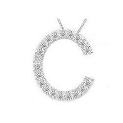 Letter 'C' 14k White Gold Pendant