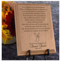 Personalized Remembrance Wooden Plaque