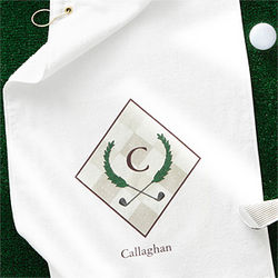 Golf Pro Initial Crest Personalized Golf Towel