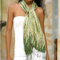 Royal Java Green Silk Batik Scarf
