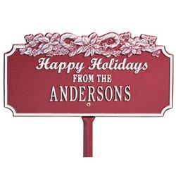 Candy Cane Happy Holidays Plaque