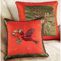 Cardinal or Flower Holiday Pillow