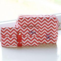 Chevron Cosmetic Bag and Brush Set