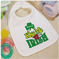 Kiss Me I'm Irish Personalized Baby Bib