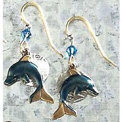 Goldtone Blue Dolphin Earrings