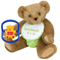 Green Baby Teddy Bear with Rattle