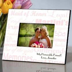 Personalized Pink and White Maid of Honor Frame