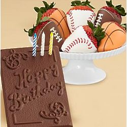Chocolate Birthday Card and Half Dozen Sports Strawberries