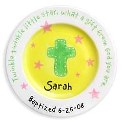 Girls Personalized Cross and Stars Baptism Plate