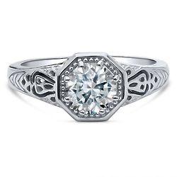 Sterling Silver Art Deco Milgrain Ring Made with Swarovski