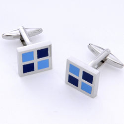 Blue Squares Cuff Links with Personalized Case