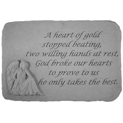"""A Heart of Gold Stopped Beating"" Sympathy Stone with Angel"