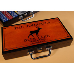 Personalized Cabin Series Poker Set with Stag Image