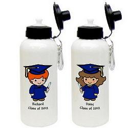 Custom Character Graduate Aluminum Water Bottle