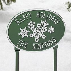 Snowflake Oval Yard Plaque