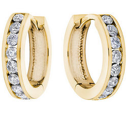 Huggie Hoop Diamond Earrings in 10K Yellow Gold