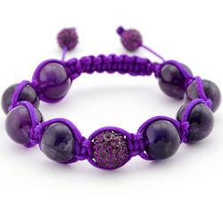 Amethyst Crystal Pave Shamballa Inspired Bracelet
