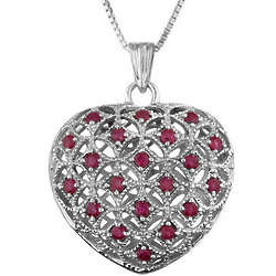 Sterling Silver Ruby Heart Pendant with Chain