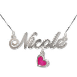 Sterling Silver Name Necklace with Dangling Charm