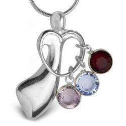 Mother's Loving Embrace Birthstone Charm Heart Pendant