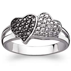 Sterling Silver Black and White Hearts Ring with Diamond Accent