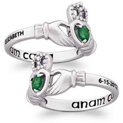 Sterling Silver Name and Date Birthstone Claddagh Ring