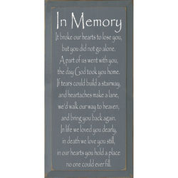 In Memory Beveled Wood Sign