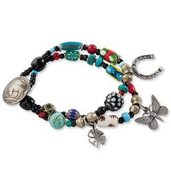 Trade Beads Bracelet with Good Luck Charms