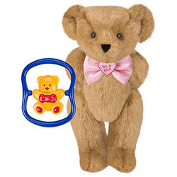 It's a Girl Bowtie Teddy Bear with Rattle