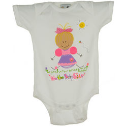 Personalized Baby Sister with Blonde Hair Bodysuit