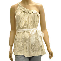 Beige Viscose Sleeveless Top Blouse