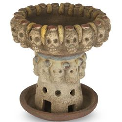 Mexican Archaeological Skulls Ceramic Incense and Oil Burner