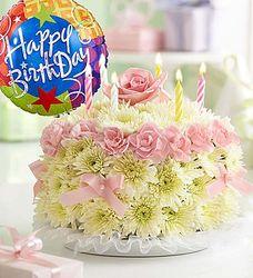 Pastel Birthday Flower Cake with Balloon