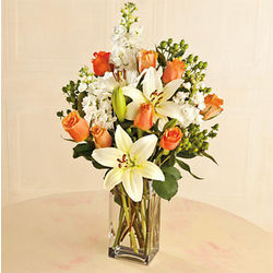 Coral and Cream Flower Bouquet