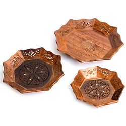Handcarved Wooden Serving Trays with Brass Accents